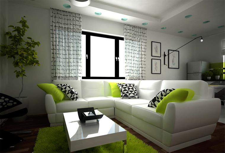 Гостиная с зелеными акцентами