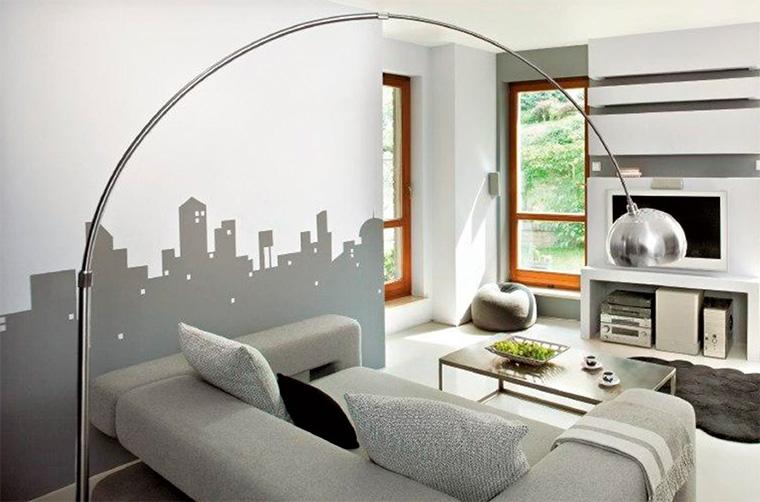 Интерьер гостиной в серых тонах стен