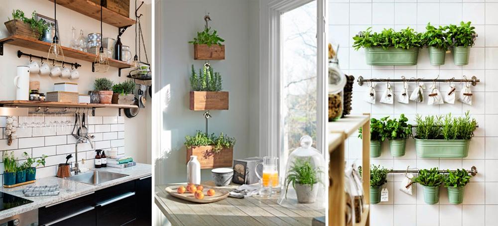 Горшки с пряными травами в интерьере скандинавской кухни, фото-идеи