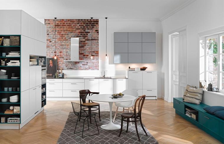 Белая кухня гостиная, дизайн интерьера, скандинавский стиль, фото