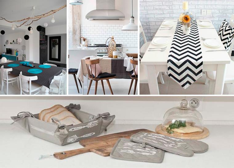 Текстиль для кухни в скандинавском стиле, фото оформления стола
