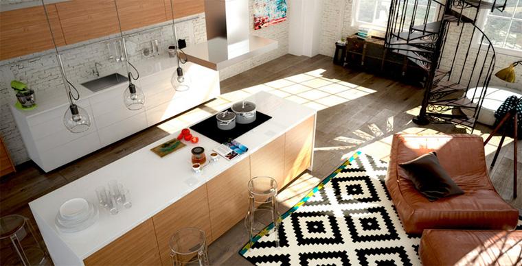 Скандинавский стиль в интерьере кухни гостиной, фото