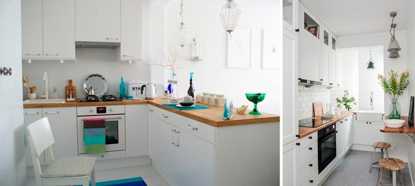 Интерьер маленькой кухни в скандинавском стиле, фото