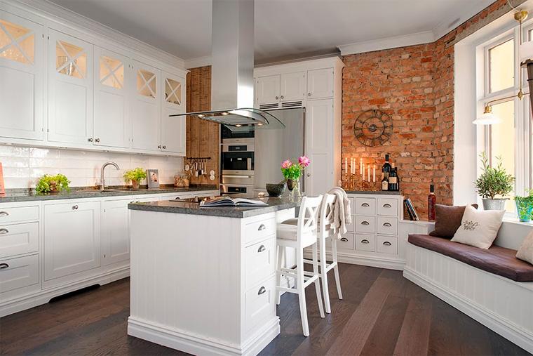 Оформление стен в кухне в скандинавском стиле, фото