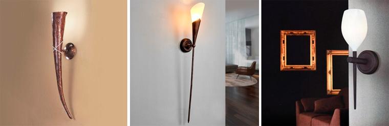Настенные светильники-факелы для прихожей, фото