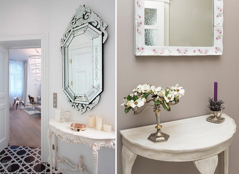 Романтичное зеркало с полкой в прихожую фото