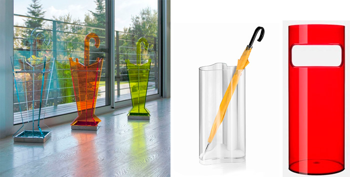 Прозрачные пластиковые подставки для зонтиков в современном стиле, фото