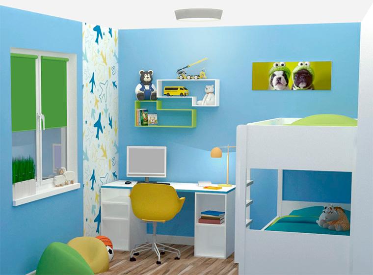Дизайн детской для двух мальчиков разного возраста 121