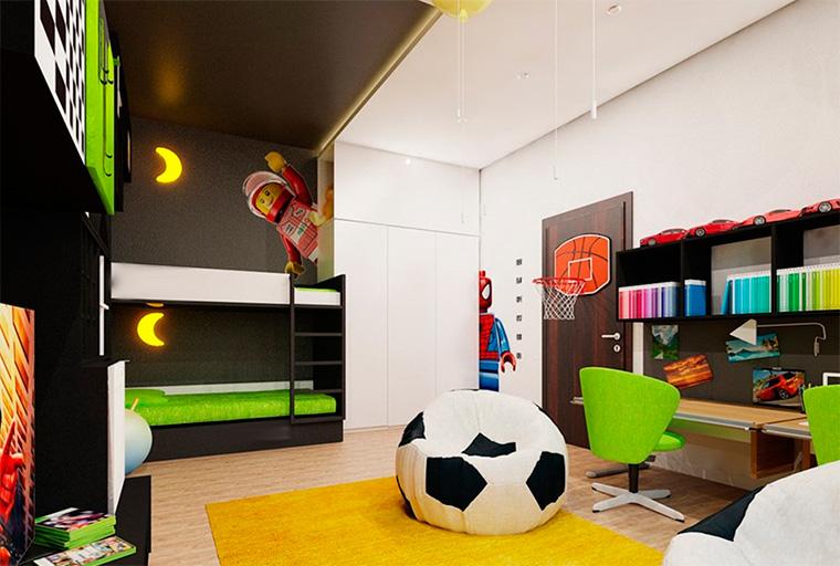 Дизайн детской для двух мальчиков подростков, фото