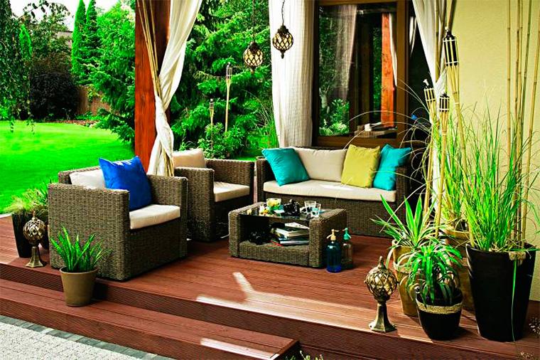Примеры расположения зон отдыха в саду, фото