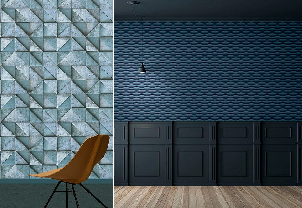Синий на стенах, модный кобальт