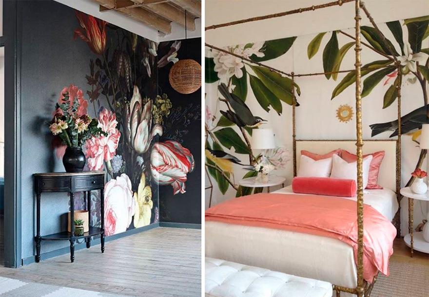 Цветочные мотивы и модные обои в спальню 2017