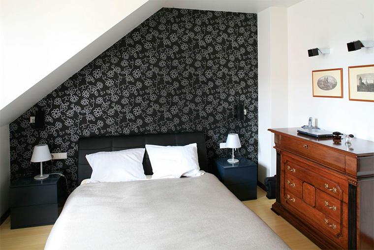 Черные обои в спальню комбинированные, фото, дизайн