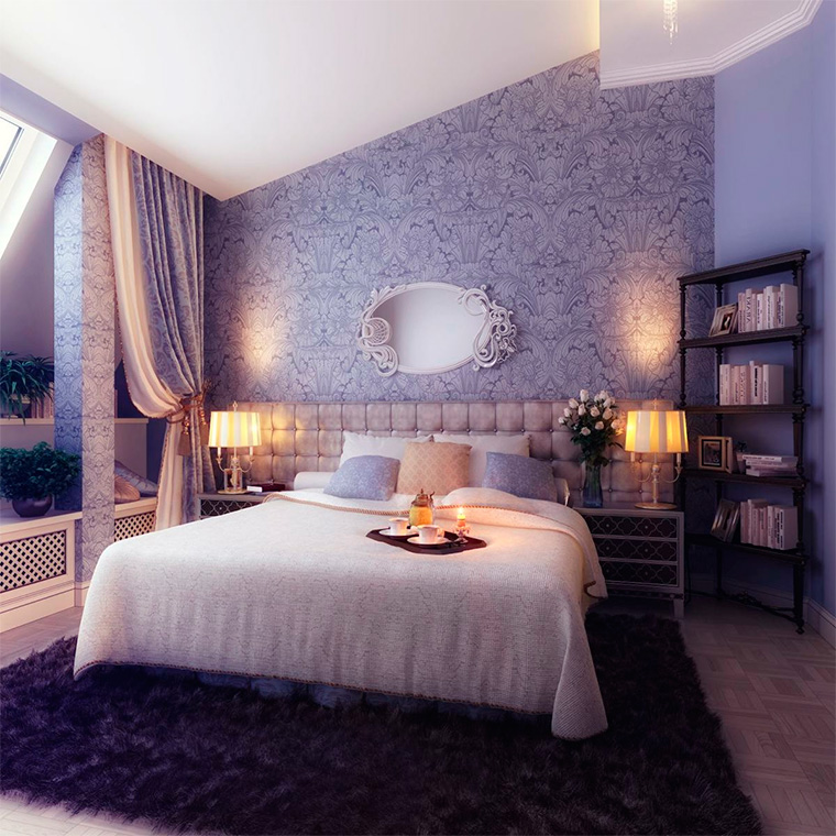 Дизайн спальни, фото 2016, обои двух цветов