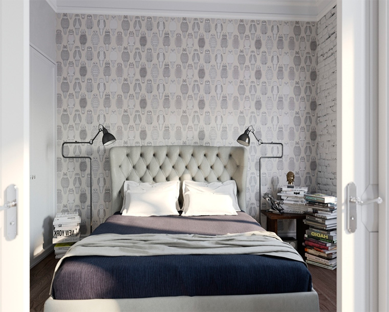 Дизайн обоев для спальни – комбинированные стены