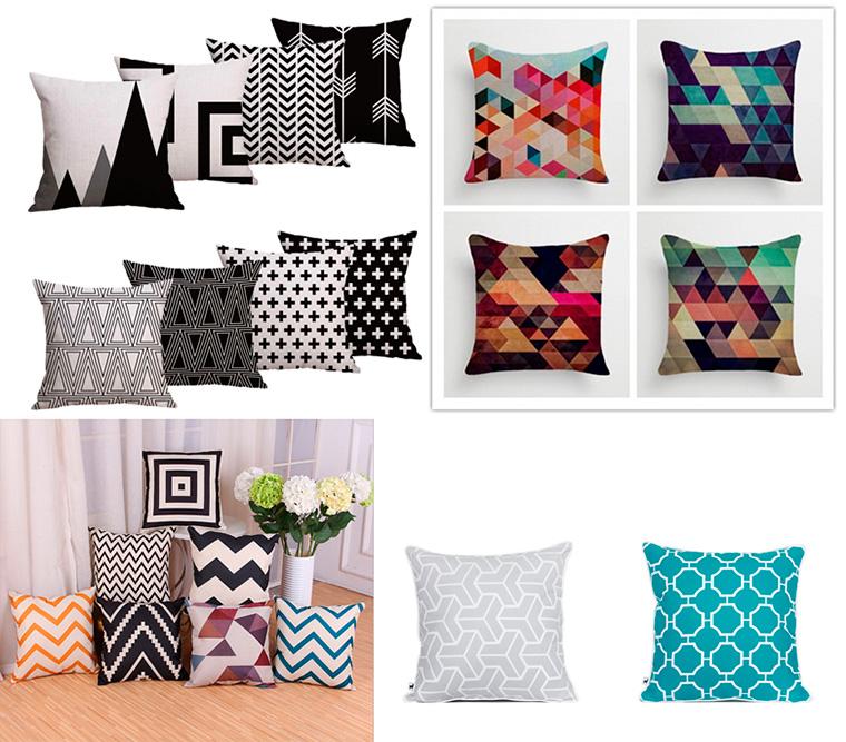 Красивые декоративные подушки на диван с геометрическим декором