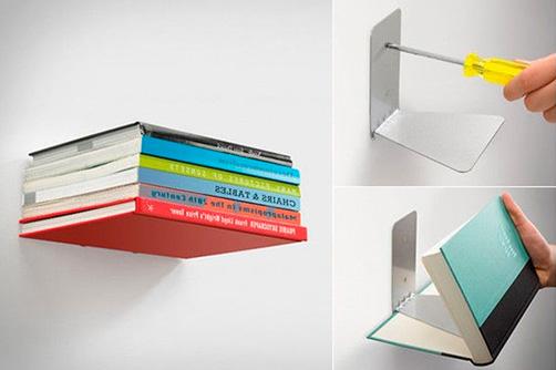 Невидимые настенные полки для книг