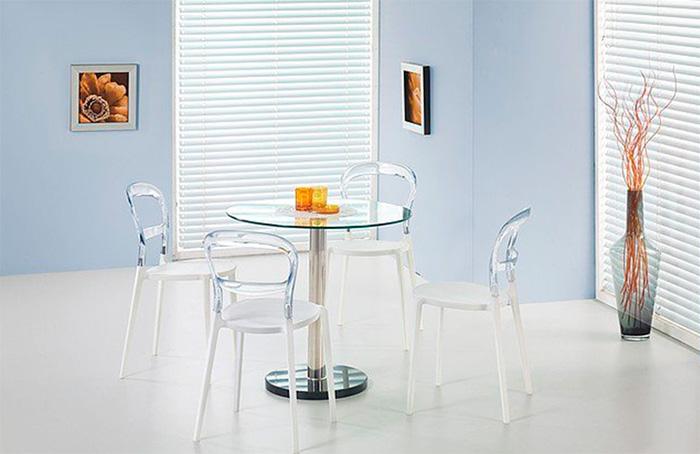 Стол кухонный стеклянный круглый на одной ножке