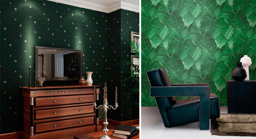 Темно-зеленые обои в интерьере