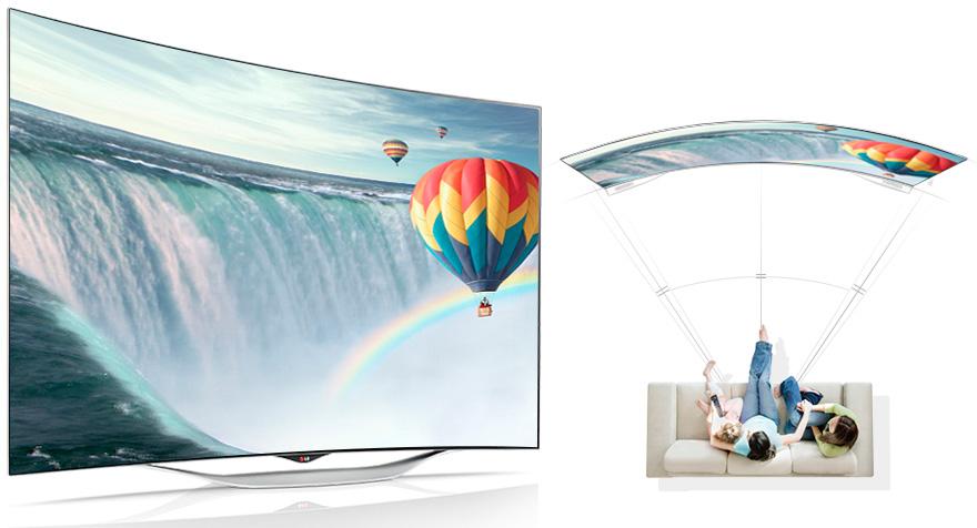 Преимущества изогнутого экрана телевизора