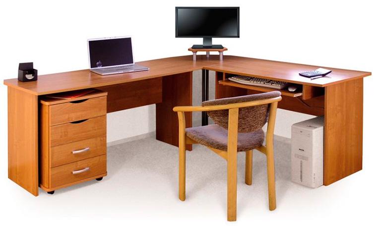 Угловой письменный стол для школьника с ящиками и полками