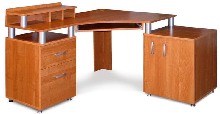 Угловой письменный стол с надстройкой для школьников