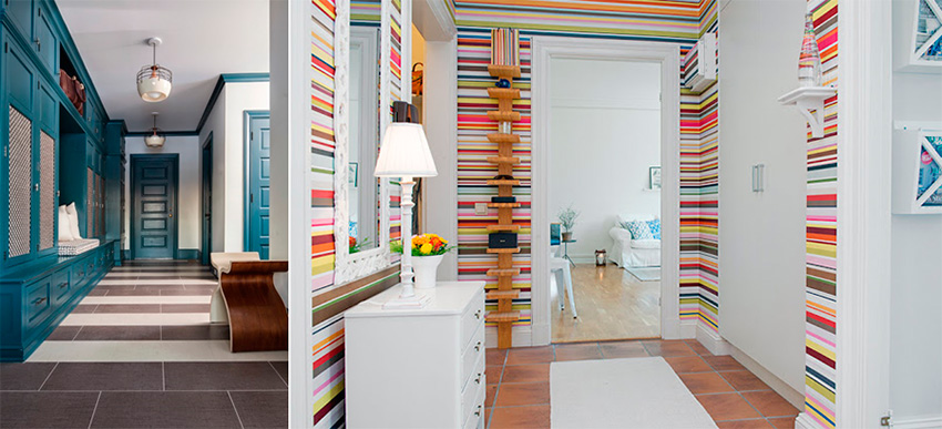 Полосатая отделка маленького коридора в квартире – фото