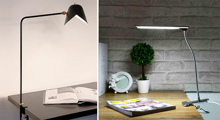Настольная лампа для рабочего стола на струбцине