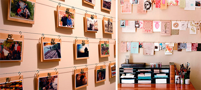 Оформление стены фотографиями без рамок