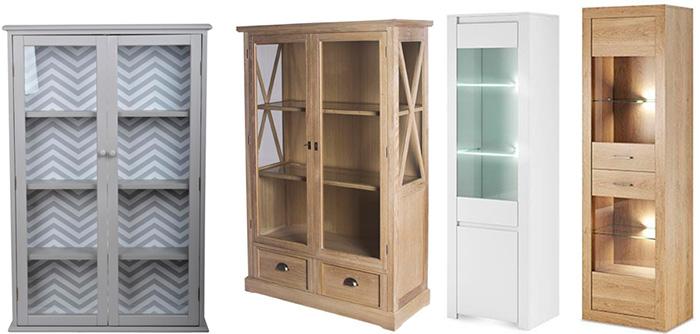 Деревянный шкаф для посуды со стеклом, фото