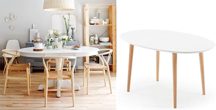 Стол овальный раздвижной для кухни белый в скандинавском стиле