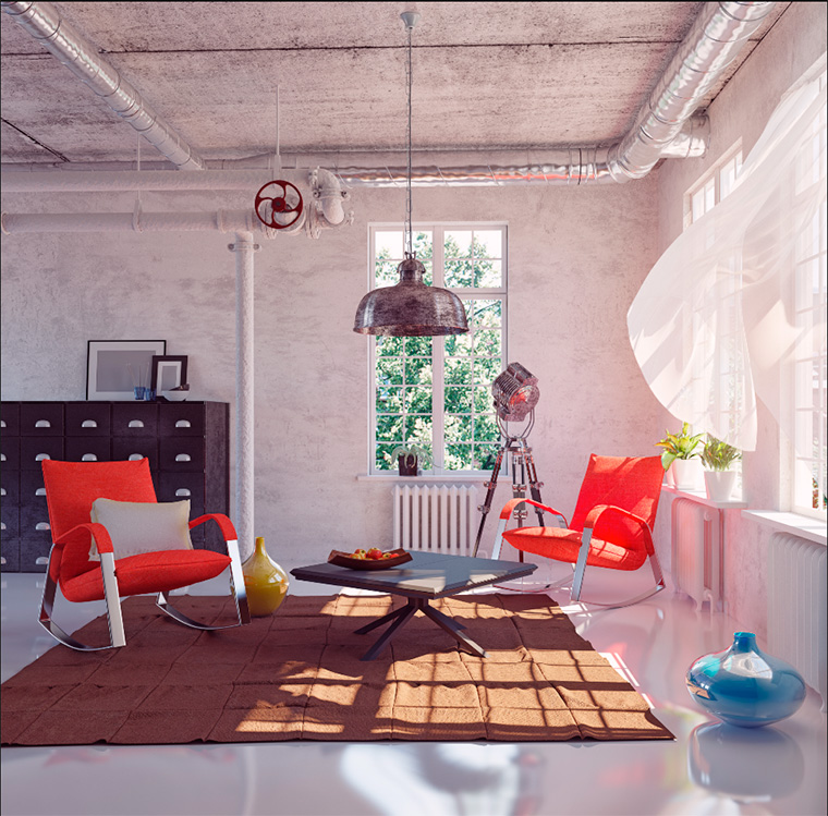 Бетонный потолок лофт с декоративной штукатуркой