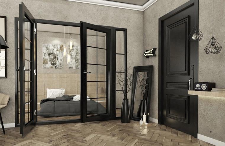 Двустворчатые двери в стиле лофт