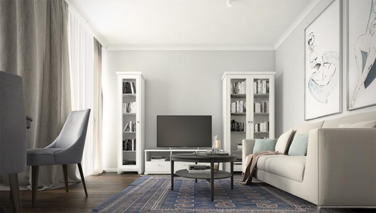Стенка в гостиную в классическом стиле белая, фото