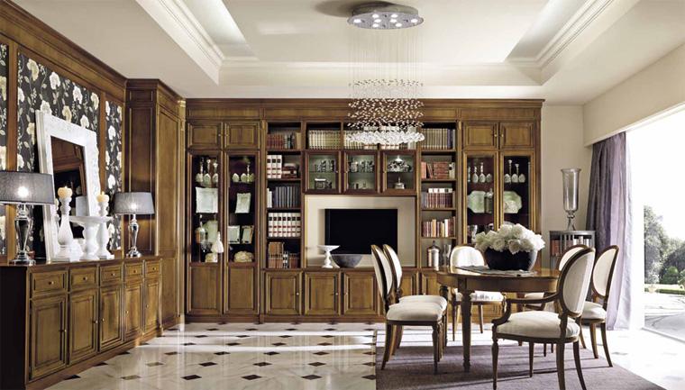 Стенка в гостиную в классическом стиле – фото