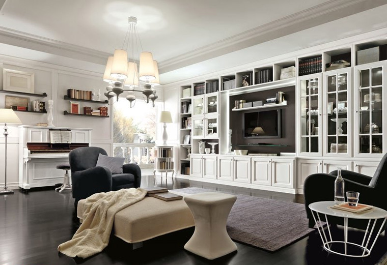 Белая классическая стенка в гостиную
