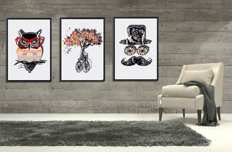 Графика, плакаты, модульные картины в стиле лофт