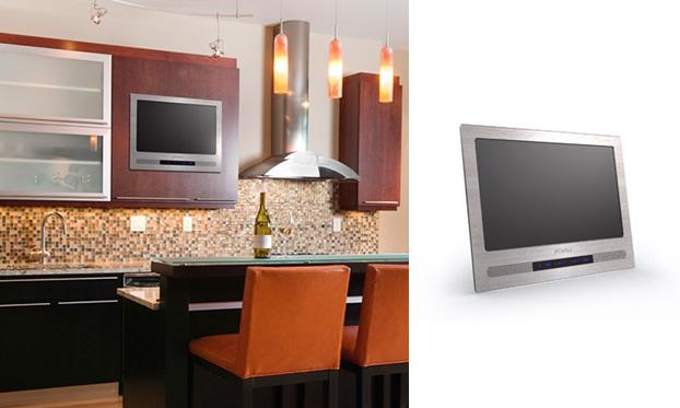 Телевизор, встроенный во фронт кухонной мебели