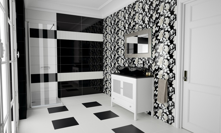 плитка на пол черно белая фото