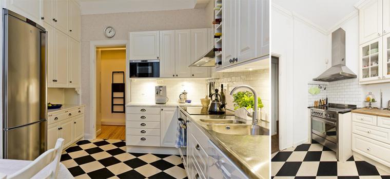 Черно-белая плитка на полу в кухне, оформленной в скандинавском стиле, фото