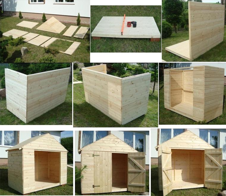 Фото. Монтаж деревянного домика-бытовки поэтапно