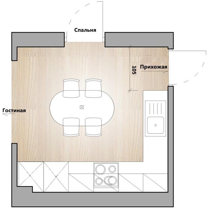 Второй проект – высокая кухонная мебель