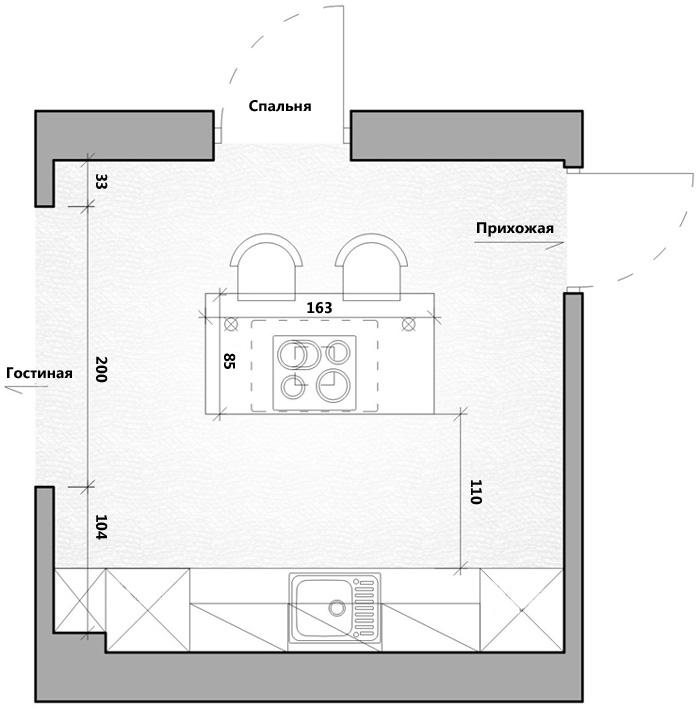 Пятый проект – гламурная кухня с кухонным островом