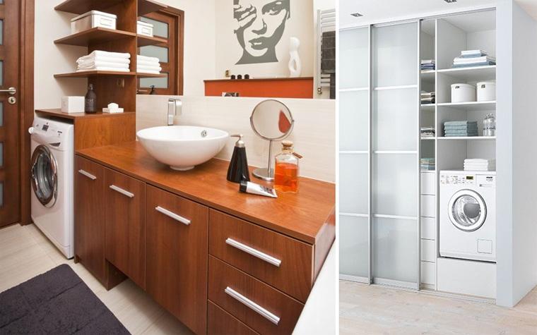 Шкаф для стиральной машины в ванной – фото