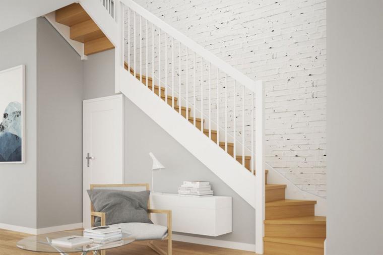 Лестницы из массива дерева в скандинавском стиле, фото
