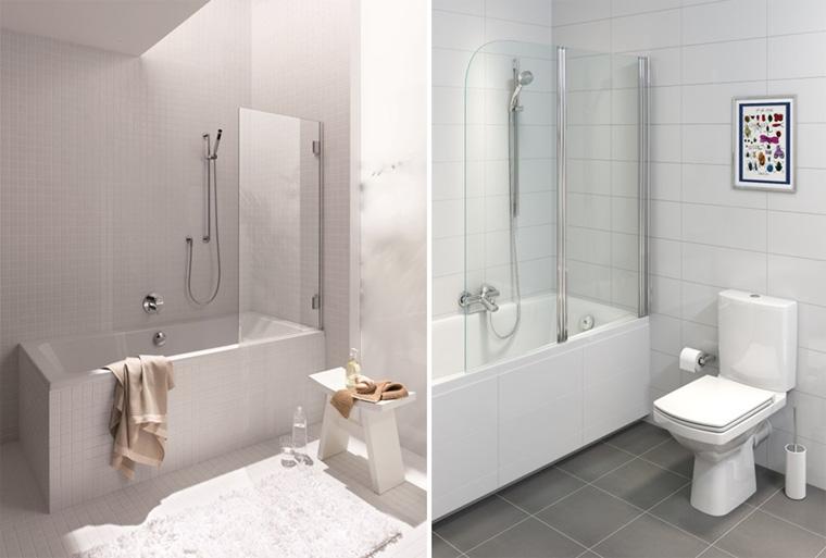 Фото. Ширмы для ванны KOŁO Niven и Cersanit Easy