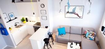 Дизайн однокомнатной квартиры-студии 20 кв м, фото планировки гостиной