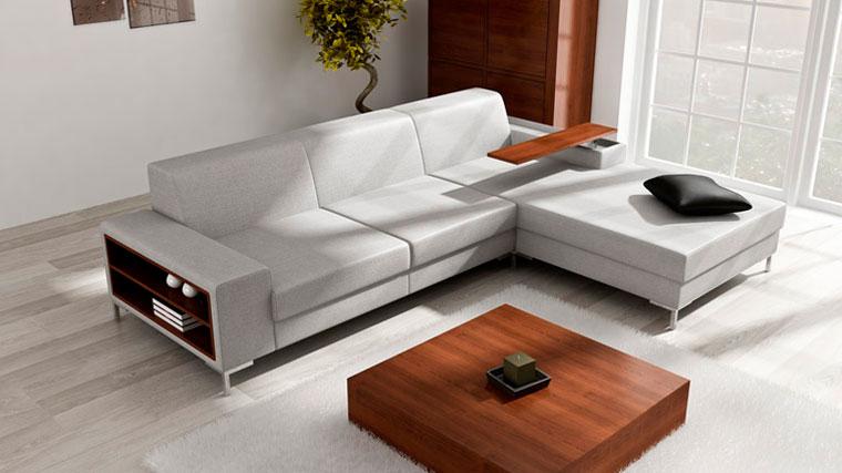 Угловой диван с полкой в углу