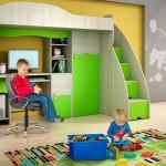 Фото. Компактные детские двухъярусные кровати со столом и шкафом