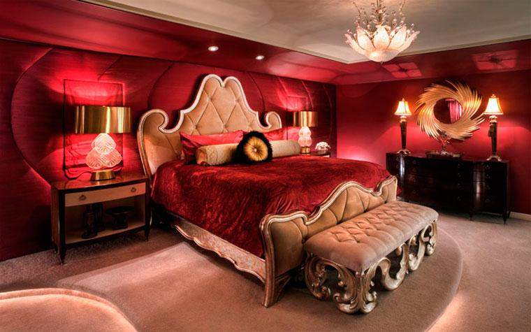 Спальня в красных цветах – шторы, обои в красную спальню
